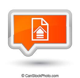 Upload document icon prime orange banner button