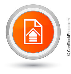 Upload document icon prime orange round button