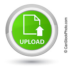 Upload (document icon) prime soft green round button
