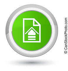 Upload document icon prime soft green round button