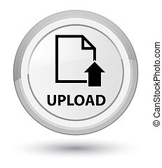 Upload (document icon) prime white round button