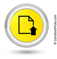 Upload document icon prime yellow round button