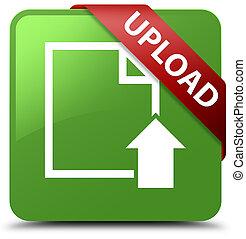 Upload (document icon) soft green square button red ribbon in corner