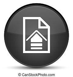 Upload document icon special black round button
