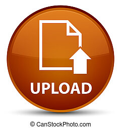 Upload (document icon) special brown round button