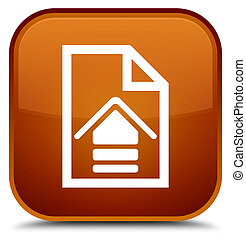 Upload document icon special brown square button
