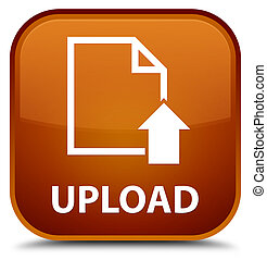 Upload (document icon) special brown square button