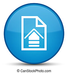 Upload document icon special cyan blue round button