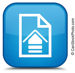 Upload document icon special cyan blue square button