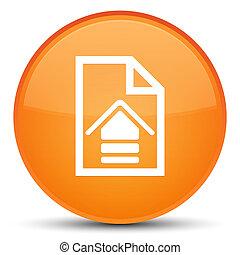 Upload document icon special orange round button