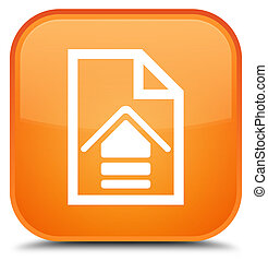 Upload document icon special orange square button