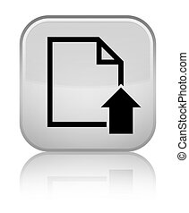 Upload document icon special white square button