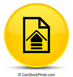 Upload document icon special yellow round button