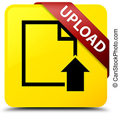 Upload (document icon) yellow square button red ribbon in corner