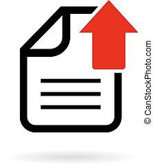 upload, documento, ícone