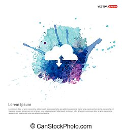 Upload Download Cloud Icon - Watercolor Background