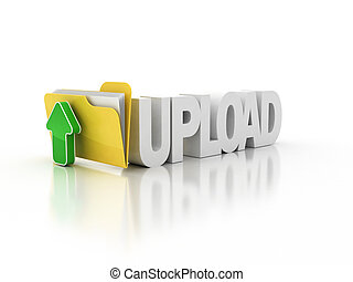 upload folder icon 3d illustration