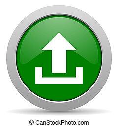 upload green glossy web icon