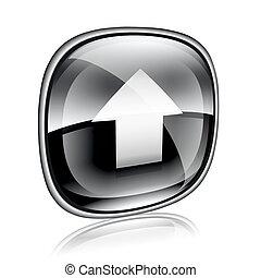 Upload icon black glass, isolated on white background.