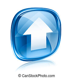 Upload icon blue glass, isolated on white background.