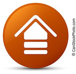 Upload icon brown round button