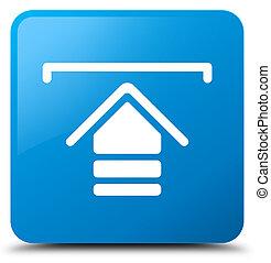 Upload icon cyan blue square button