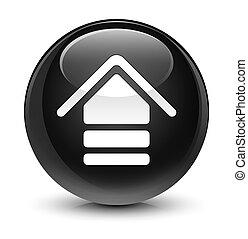 Upload icon glassy black round button