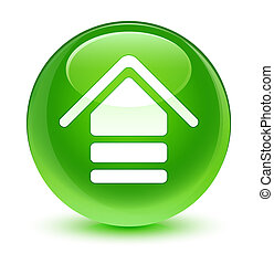 Upload icon glassy green round button