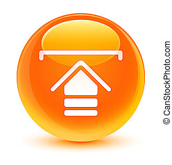 Upload icon glassy orange round button