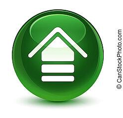 Upload icon glassy soft green round button