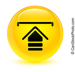 Upload icon glassy yellow round button