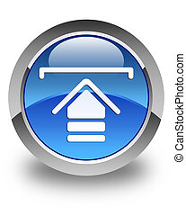 Upload icon glossy blue round button