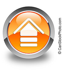 Upload icon glossy orange round button 2