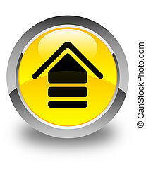 Upload icon glossy yellow round button