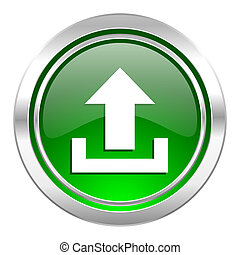 upload icon, green button
