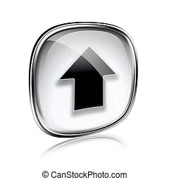 Upload icon grey glass, isolated on white background.