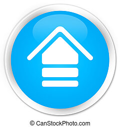 Upload icon premium cyan blue round button