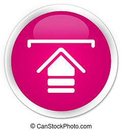 Upload icon premium pink round button