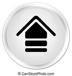 Upload icon premium white round button