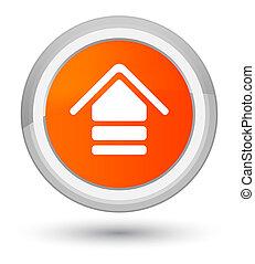 Upload icon prime orange round button
