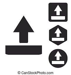 Upload icon set, monochrome