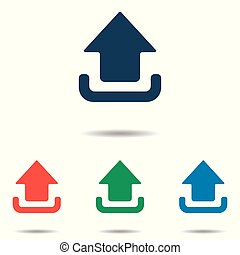 Upload icon set - simple flat design isolated on white background, vector