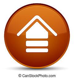 Upload icon special brown round button