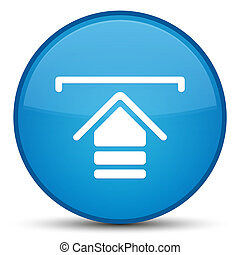 Upload icon special cyan blue round button