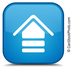 Upload icon special cyan blue square button