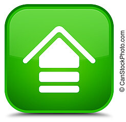 Upload icon special green square button