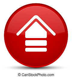 Upload icon special red round button