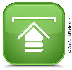 Upload icon special soft green square button