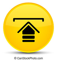 Upload icon special yellow round button