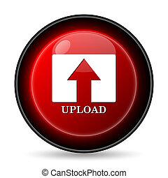 Upload icon. Internet button on white background.